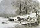 Anonymous 1863 Caribou Hunting in New Brunswick the start hand coloured 18 Jan 1863 ILN web (5K)